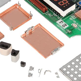 Latas de PCB, juntas, carcasas, clips de puesta a tierra y placas
